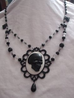 Black and white Gothic / Victorian skull cameo by MidnightDesires, $15.00
