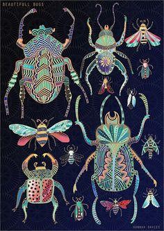 "Illustration UK : Hannah Davies, ""Bugs in gold"", scarabées, insectes, animaux Art And Illustration, Nature Illustrations, Bug Art, Motifs Animal, Beautiful Bugs, Beautiful Pictures, Insect Art, Bugs And Insects, Art Design"
