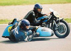 Vintage sidecar racing in Germany.