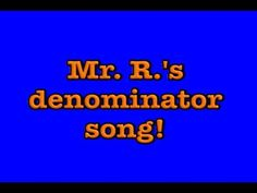 Learn about denominators (and a trick to remember the word) in this fractions video. Watch my numerator & denominator music video here:  http://youtu.be/j7WhRMvlQwo  See more of my free math and science resources at:  http://mathstory.com    LYRICS:  Let me tell you about a word,  That starts with letter D,  Denominator,  Is that word,  Check it...