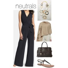 Spring & summer outfit idea for women over 40. Over 40 fashion. Inspiration for stylish women over 40. Featuring black jumpsuit and neutrals. Transitional outfit.