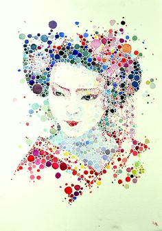 Dotted watercolour geisha on Behance