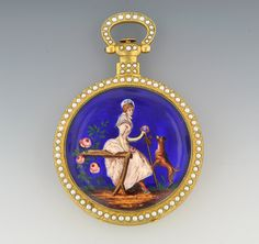 A Fine Large Gold Seed Pearl and Enamel Open Face Pocket Watch Signed Movement BOVET FLEURIER, ca. Mid 19th Century