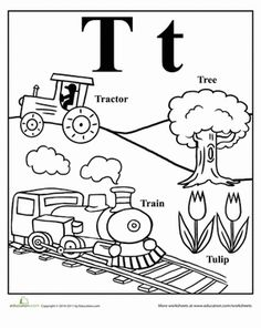 Letter T worksheets are totally terrific for your tot. Use these letter T worksheets when learning about letters and early reading and writing with your child. Letter T Activities, Letter T Worksheets, Alphabet Letter Crafts, Preschool Letters, Preschool Learning Activities, Kindergarten Worksheets, Writing Worksheets, Preschool Ideas, Words With T