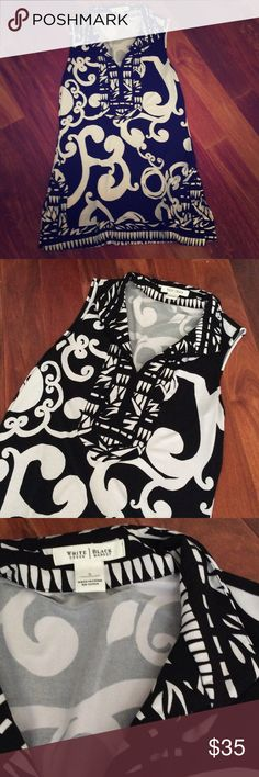 New no tags WHBM tunic style tank top - SZ S New never worn. Tried on - washed once. Black and white tunic style tank purchased at White House Black Market White House Black Market Tops