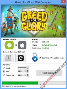 Unlimited Gold, Iron, Diamonds, in Greed for Glory Wild Conquest  Download Greed for Glory Wild Conquest Cheats:  http://easiergame.net/greed-for-glory-wild-conquest-cheat-hack-ios-android/