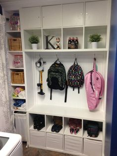 Materials: 2 KALLAX Shelving Units These Mudroom or Laundry Room organization cubbies are made...