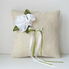 Custom Made White Silk Roses Ring Pillow