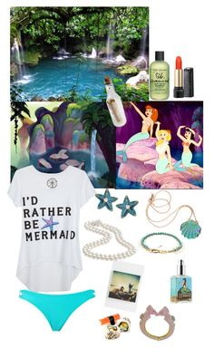 Mermaid lagoon by lj-case on Polyvore featuring polyvore, fashion, style, Forever 21, Rosita Bonita, Betsey Johnson, Lizzie Fortunato Jewels, Lancôme, A Beautiful Life, Bumble and bumble, Disney and clothing