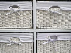 Picture of White boxes from braided bamboo with canvas cover used for storage objects in the house. stock photo, images and stock photography. White Box, Bamboo, Braids, Objects, Boxes, Stock Photos, Tote Bag, Canvas, Storage