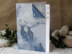Rein Deer Card Christmas Card 8x6 Blue Sleigh Card by 4SeasonCards