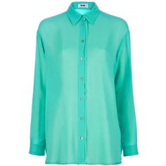 ACNE 'Shining' Blouse ($260) ❤ liked on Polyvore featuring tops, blouses, shirts, green shirt, long sleeve shirts, green chiffon blouse, shirts & blouses and shiny shirt