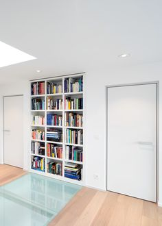 Modern white interior door with a minimal aluminium door frame.