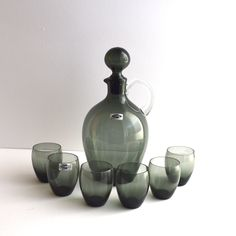Your place to buy and sell all things handmade Grey Glass, Everyday Objects, Shot Glasses, Carafe, Finland, Glass Art, Arts And Crafts, Mid Century, 1940s