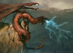 MtG Art: Stormbreath Dragon from Theros Set by Slawomir Maniak - Art of Magic: the Gathering Magical Creatures, Fantasy Creatures, Mythological Creatures, Magic The Gathering, High Fantasy, Fantasy Art, Fantasy Beasts, Mtg Art, Cool Dragons