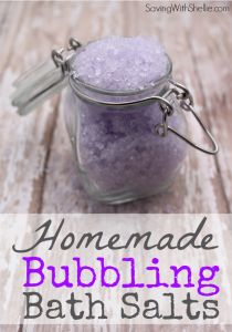 Try these Homemade Bubbling Bath Salts for an easy homemade gift idea. I used lavender but you can change the color and scent to match the season. Put them in a mason jar for a simple, lovely gift.