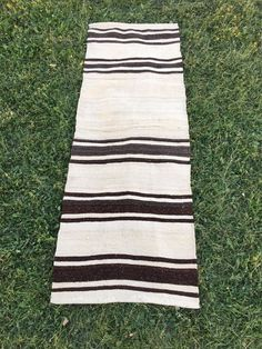"Plain Decor Organic Undyed Wool Tribal Turkish Kilim Rug,Short  Runner 2'2""x6'4"" 