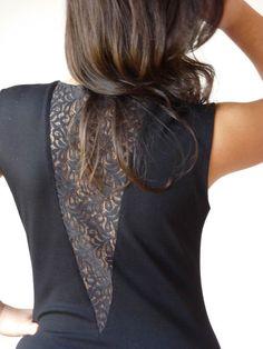 Lace cutout...Repurpose/update an old shirt