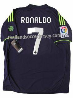 New 12 13 Real Madrid Away Dark Blue Soccer Jersey Ronaldo 7 Football Shirt Patch Lfp 100 Years By Thailandsoccer Football Shirts Club Badge Soccer Jersey