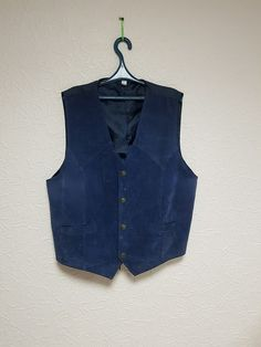 Vintage Men's Vest Blue Waistcoat  Real Leather Size XL 56-58 size by TinutesCreations on Etsy
