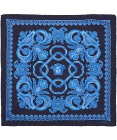 Versace Blue Classic Baroque Print Silk Scarf   Scarves   Liberty.co.uk