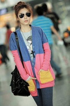 Sweet Color Block V-neck Long Sleeve Pocket Button-down Women Jacket Coat on BuyTrends.com, only price $15.00