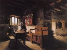 Gallery of the masters fine art listed by country and alphabetically-Painting by Harriet Backer entitled Interior Lund, Female Painters, Ludwig, Inspirational Artwork, Norway, Oil On Canvas, Scandinavian, Gallery, Illustration