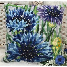 Stitch your own darling decorative throw pillow with this Blue Bells Bleuets Pillow Cross Stitch Kit. #DIY home decor has never been so easy with this printed canvas, #yarn, and instructions.