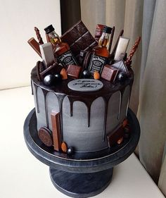 The Groom's Cake – A Brief History & Inspiration — Marrygrams // Bourbon and chocolate are the groom's cake version PB & J. Add tiny bottles of Jack to really get the party started. - The Groom's Cake - A Brief History & Inspiration Birthday Cake For Him, 21st Birthday Cakes, Alcohol Birthday Cake, 30th Cake, Guys 21st Birthday, Happy Birthday, Birthday Cake Designs, 21st Birthday Ideas For Guys, Birthday Cake For Boyfriend