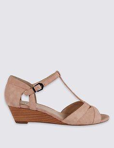 6d27eca9231ee Wide Fit Suede Wedge Heel Sandals