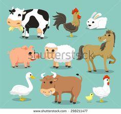 Farm Animals like Cow, Rooster, Cock, rabbit, pig, sheep, horse, duck, bull, hen, chicken. Vector illustration cartoon. - stock vector