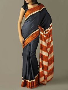 Rust-Black Murshidabad Silk Saree