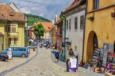 Tourists On Medieval Street In Sighisoara, Romania Editorial Image - Image of destination, historic: 72655285 Medieval, Street View, Editorial, Pearls, Street, City, Beads, Mid Century, Middle Ages
