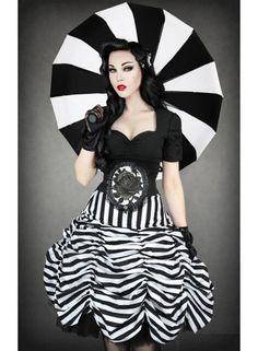 SKIRT   Circus Black & White Stripes Cabaret