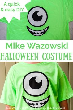 #ad Costume making is quick and easy with Cricut. Make this DIY Mike Wazowski Halloween costume in less than 30 minutes. With just a few supplies and your Cricut machine, you can easily put together this costume, even at the last minute. Mike Wazowski Halloween Costume, Homemade Halloween Costumes, Halloween Jack, Halloween Treats, Halloween Party, Quick And Easy Crafts, Easy Diy Crafts, Diy Crafts For Kids, Halloween Projects