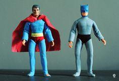 Superman & Batman action figures - Mego Corp - 1974
