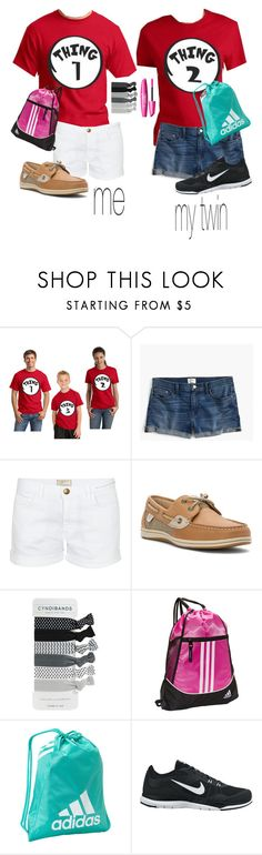 """""""twin set~going home👯🛬"""" by smaryb ❤ liked on Polyvore featuring J.Crew, Current/Elliott, Sperry, adidas and NIKE"""