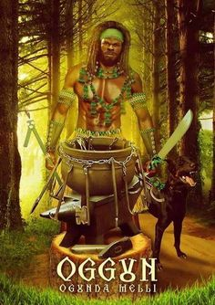 about Ogun:                       Ogun/Ogum - Warrior, Spirit of iron and all that iron becomes, i.e. technology                        Sacred colors: green & black                       Sacred number: 3                        Saint: St. John the Baptist, St. Peter