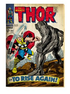 Marvel Comics Retro: The Mighty Thor Comic Book Cover #151 --To Rise Again! (aged) Premium Poster at Art.com