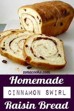 bread recipes sweet Homemade Cinnamon Swirl Raisin Bread is full of plump raisins and spiced with sweet sugar and cinnamon. Its perfect as toast slathered with butter. This recipe m Bread Maker Recipes, Easy Cake Recipes, One Loaf Bread Recipe, Gluten Free Raisin Bread Recipe, Butter Bread Recipe, Breakfast Bread Recipes, Loaf Recipes, Sweet Recipes, Keto Recipes