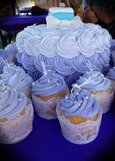 lace cupcake liners & engagement rings toppers - great for a bridal shower.