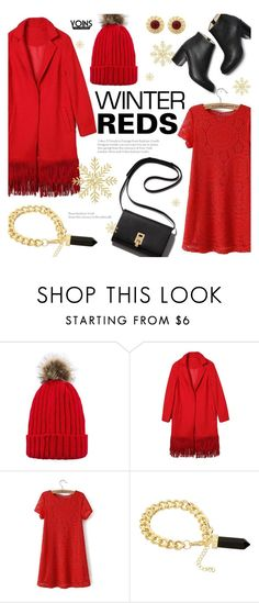 """Winter Reds ~ Yoins #15"" by alexandrazeres ❤ liked on Polyvore featuring Paul Andrew, Winter, Christmas, RedOutfit, yoins and loveyoins"