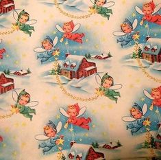 Vintage Christmas Wrapping Paper NOS Little Fairies Aloft - Gift wrap, Christmas, Vintage, other - Vintage Christmas Wrapping Paper, Vintage Christmas Images, Christmas Gift Wrapping, Retro Christmas, Vintage Holiday, Vintage Paper, Christmas Fairy, Christmas Paper, Christmas Crafts