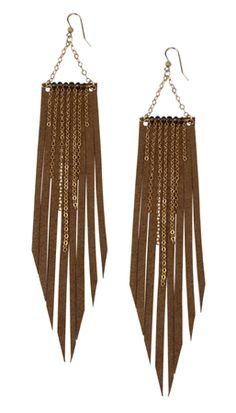 ooo...easy leather fringe earrings