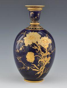 Scalloped Vase Echt Kobalt Blue Bareuther Waldsassen