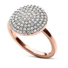 Michael Kors NWT Michael Kors Rose Gold & Crystal PaveBrilliance Statement Disc Ring Sz 7