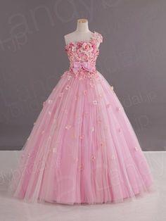 カラードレス ワンショルダー プリンセス ピンク お花いっぱい pc0232-p