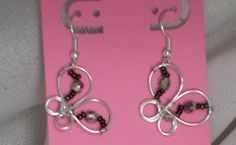 Wire butterfly earrings by MindForBeads on Etsy