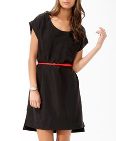 Essential Sueded Shift Dress w/ Belt (Charcoal). Forever 21. $19.80
