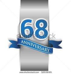 68th anniversary logo with silver label and blue ribbon, Vector design template elements for your birthday party.